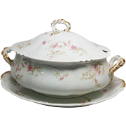 Classic Porcelain Soup Tureen with Large Platter ~ Haviland @ Co Limoges France 1890-1896 ~  Factory Decorated Pink Red Orchid ~  Louis XV