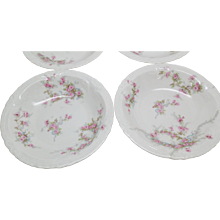 Haviland Limoges 6 Berry Bowls LAMBELLE  Blue Ribbons Pink Roses 1903