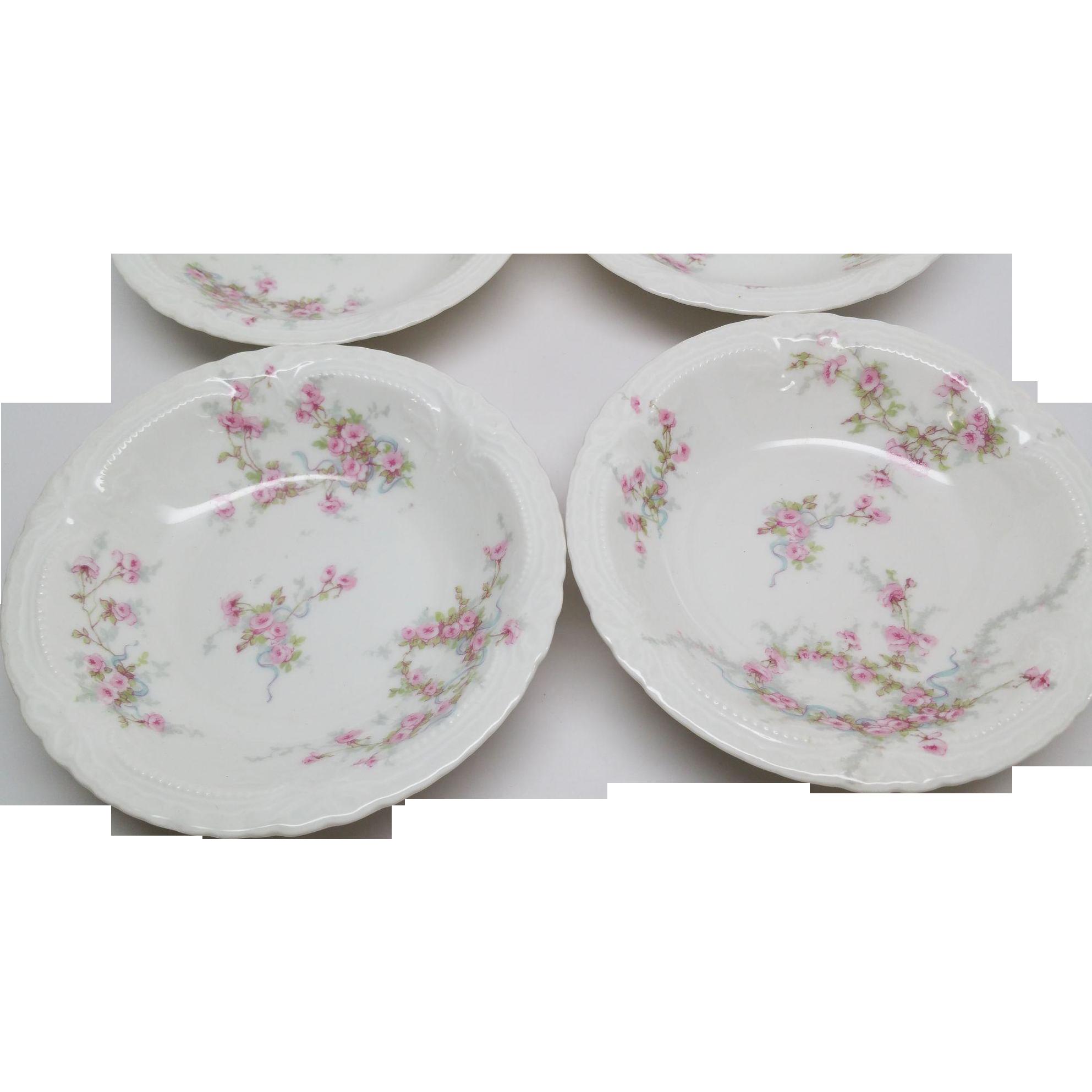 Haviland Limoges 6 Berry Bowls LAMBELLE  Blue Ribbons Pink Roses 1903