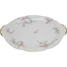 Haviland LAMBELLE Blue Ribbons Pink Roses 1903 small platter