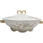 Antique Theodore Haviland 10 Round Serving Bowl with Lid LAMBELLE Blue Ribbons and Pink Roses 1903