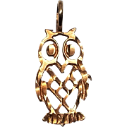10K Yellow Gold Owl Pendant
