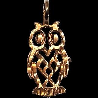 10K Yellow Gold Owl Pendant