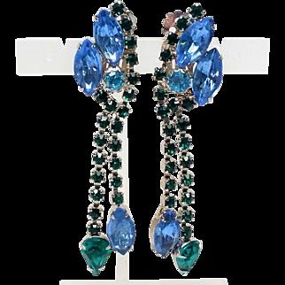 Stunning Long Dangle Blue Green Rhinestone silver tone clip back earrings