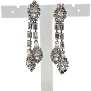Icey Clear Baguettes and Marquise Rhinestone Long Dangle silvertone clip earrings