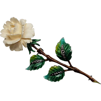 Sterling West Germany enamel Marcasite and celluloid flower pin