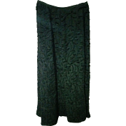 Vintage 1900s Edwardian Black  Mourning Skirt Full Length with back scoop