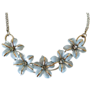 Baby Blue Plastic Flowers Necklace