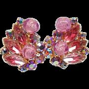 Wonderful Juliana Pink Rhinestone, Pink Givre Navettes and Art Glass Earrings