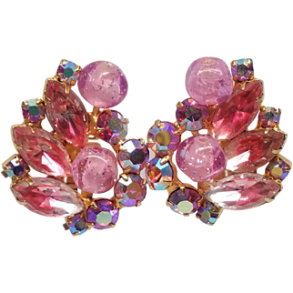 Wonderful Juliana Pink Rhinestone, Pink Givre Navettes and Art Glass Earrings