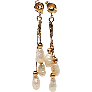 Vintage 14k Gold Long Freshwater Pearl Dangle Earrings