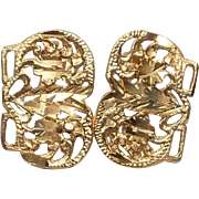 Beautiful 14k Floral Design Diamond Cut pierced Earrings
