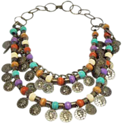 Metal and beads floating Coin 80's multi strand necklace