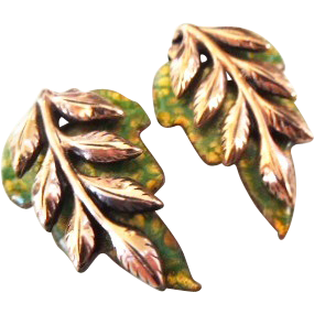 "Renoir Matisse Copper Enamel and Leaf ""Laurel"" earrings"