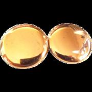Renoir Copper shiny Disk clip Earrings