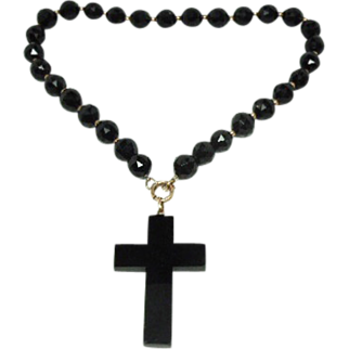 Obsidian Mourning Necklace with large cross 14K clasp
