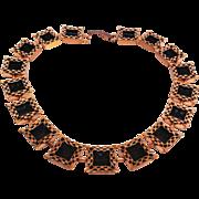 Renoir Copper Ebony Black Lace Book Piece Necklace