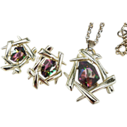Sarah Coventry CHINESE MODERN Watermelon Glass Faux Mystic Fire Topaz Goldtone earrings pendant set