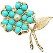 "Sarah Coventry ""Aqua Fleur"" brooch flower pin/brooch  Early 1960's"