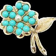"Sarah Coventry ""Aqua Fleur"" brooch flower pin/brooch  Early 1960's"