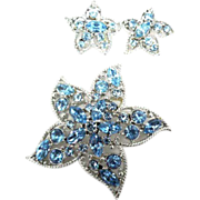 "Sarah Coventry ""Star Fire"" starfish brooch and earrings  1960's"