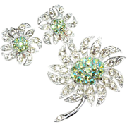 "Sarah Coventry ""Mountain Flower"" Brooch earrings Set"