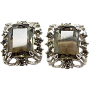 Sarah Coventry Celebrity smokey black rhinestone clip Earrings