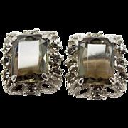 Sarah Coventry Celebrity smokey black rhinestone clip Earrings