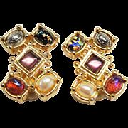 Large Premier USA  Earrings Mixed Cabochons Rhinestones