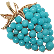 Crown Trifari Robin Egg Blue Aqua Bead Strawberry Brooch pin