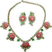 Vintage Green Peach Speckled Easter Egg Prong set Rhinestone Necklace Earrings