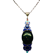 Massive Middle Eastern Sterling Pendant Necklace with Lapis Coral Turquoise and Huge Spinach Jade