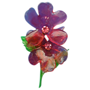 Flower Power LUCITE Enamel Double red flower w/ rhinestone