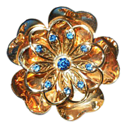 c1940's Gold Wash brooch pendant  Flower with blue rhinestones