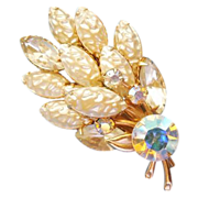 Wonderful Baroque faux pearl AB rhinestone brooch