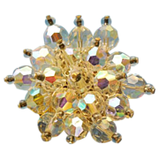 Bright Crystal bead star shape brooch pin