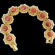 Sarah Coventry Valenica Faux Coral Goldtone Filigree Link Bracelet