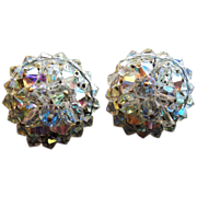 Signed Hobe' Crystal bead clip earrings