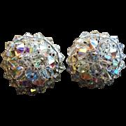 Signed Hobe' Crystal bead clip earrings