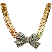 Retro basket weave choker necklace with Rhinestone Bow
