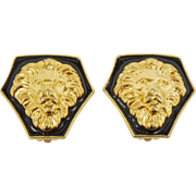 enamel and gold tone Lion earrings