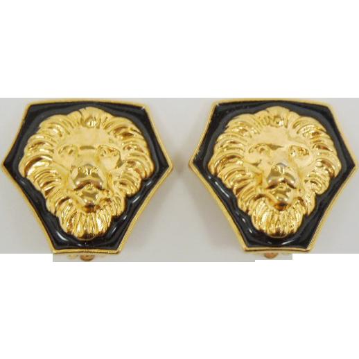 enamel and gold tone Lion earrings