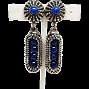 Outstanding High End Pat Pending Napier Open Cage Modernist Blue Ball Glass Earrings