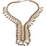 Fabulous NAPIER c. Faux Gold & Crystal Fringe Tie Necklace