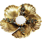 Freirich enamel Flower Pin with Center cabochon , French Designer Costume Jewelry