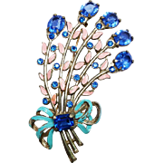 Amazing Huge c1920 Enamel and Rhinestone Flower spray
