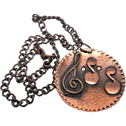 Wonderful Large Treble clef and Music Note Pendant with heavy copper chain