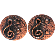 Treble clef and Music Note Solid Copper Screwback Earrings