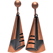Lomg Modernist dangle Copper screw back earrings