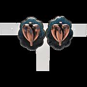 Wonderful Moderist Copper and Green Enamel Hanging Heart Earrings